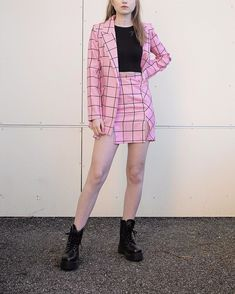 Pink outfit. Co-ord set: skirt and blazer Co Ord Sets, Hipster, Blazer, Skirts, Pink, Outfits, Style, Fashion, Moda