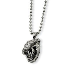"""Men's Stainless Steel Skull with Diamond Ball Chain Necklace The Black Bow. $232.00. pendant measures 1-1/4"""" x 3/4"""". accented with a 1/6 carat diamond & black enamel. stainless steel design. average weight 20.04 grams"""