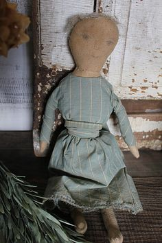 cinnamon creek dry goods | HANDMADE | ''MAGGIE'' She is a sweetheart ! One of a kind, Aged to perfection, 14'' - vintage cloth for her dress, hand drawn face and a bit of flax hair. Signed and dated by me. 56.00 + Shp. SOLD
