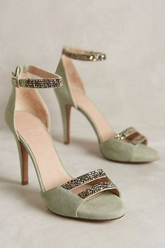 11 Colorful Wedding Shoes for the Offbeat Bride Hoss Intropia Jewel-Strap Heels anthropologie anthrofave Cute Shoes, Me Too Shoes, Trendy Shoes, Colorful Wedding Shoes, Colorful Heels, Green Wedding Shoes, Stiletto Heels, High Heels, Shoe Boots