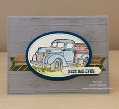 Father's Day card using Stampin' Up!Country Livin' and Pinewood Planks textured embossing folder