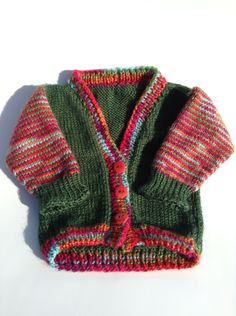 Cardigan Sweater - Green and Rainbow Size 12-18 months by Archaeopterknits on Etsy
