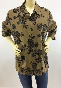 51527131 Coldwater Creek Button Down Shirt Rayon Linen Brown Floral Embellished Sz  Large