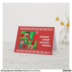 Shop String Quartet Holiday Card created by SwimMuse. Holiday Wishes, Holiday Cards, Music Greeting Cards, String Quartet, Cheer, Seasons, Prints, Christian Christmas Cards, Humor