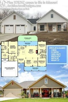 Architectural Designs House Plan 11782HZ built by our client (top) in MIssouri. 3BR   2.5BA   1,800+SQ.FT. Ready when you are. Where do YOU want to build? #11782HZ #adhouseplans #architecturaldesigns #houseplan #architecture #newhome #newconstruction #newhouse #homedesign #dreamhome #dreamhouse #homeplan #architecture #architect #housegoals #Modernfarmhouse #Farmhousestyle #farmhous