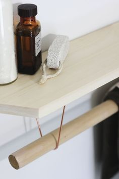 DIY Towel Rack & Shelf Tutorial by themerrythought