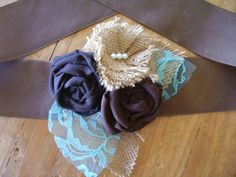 Burlap Wedding Dress Sash with Brown Roses by PinsAndNeedlesBridal, $54.00