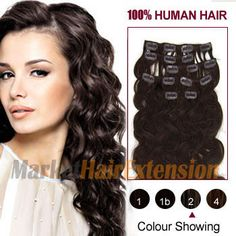 """16"""" Dark Brown (#2) 10PCS Wavy Clip In Indian Remy Hair Extensions"""