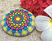 Multicolored Yellow, Orange, Pink, Blue Patterned Dot Painted Stone, Original Hand Painted Rock Art, Mandala Stone, Nature Art