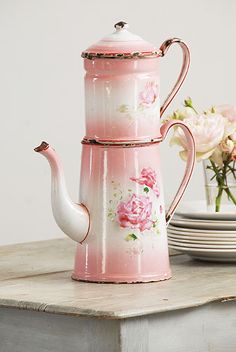 Shabby French Coffee Pot. I could give up coffee if I had this pretty coffee pot. I wouldn't want to mar it ~!~