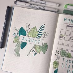 "75 likerklikk, 6 kommentarer – C R E A T I V E S T Y L U S (@creativestylus) på Instagram: ""Here is my theme for the month of August - tropical leaves!▫️I used an assortment of green markers…"""