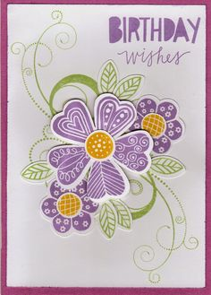 """For my card I used the new Stamp Sets B1462 Lovely Birthday and C1599 Pretty Petals along with a current stamp set D1482 Love Life. The inks I used are Sweet Leaf and the new Thistle ink and cardstock. I used the Cricut Cartridge """"Art Philosophy"""" to cut out the flowers"""