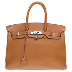 Sacs à main Hermès Hermès Birkin 35 en cuir Togo Gold, garniture en métal en argent palladié Cuir Doré ref.183944 - Joli Closet
