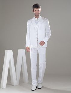 White Three Buttons Worsted Mens Wedding Suit. This mens wedding suit features front breast pocket and three buttons. Made of worsted. There's no substitute of this white suit for a really good tuxedo and every element counts, from the fit and drape to the cut and .. . See More Groom Suits and Tuxedos at http://www.ourgreatshop.com/Groom-Suits-Tuxedos-C918.aspx