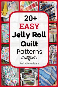 Jelly Roll Quilt Patterns. 30+ easy jelly roll quilt patterns, tutorials, and diy sewing projects easy enough for a beginner to sew. Designs include easy strip, square, and race quilts. #SewingSupport #Jelly #Roll #Pattern #Quilt #Quilting #Easy #Free