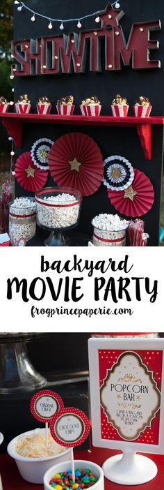 Movie Party and Popcorn Bar Ideas For a special family party or group event, host a backyard movie party!For a special family party or group event, host a backyard movie party! Backyard Movie Night Party, Movie Theater Party, Outdoor Movie Party, Backyard Movie Theaters, Outdoor Movie Nights, Cinema Party, Kids Movie Party, Party Time, Popcorn Bar