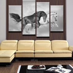4 Panel Modular picture Animal White And Black Horses The Family Decorates Print In The Oil Painting On Canvas Wall Art Picture Canvas Frame, Canvas Wall Art, Wall Art Prints, Canvas Prints, Wall Art Pictures, Print Pictures, Ottawa, Rick Und Morty, Picture Table