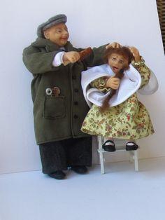 oh nee mijn haartjes ... bij de kapper handgemaakte popjes van fimo