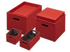 Rubbermaid 1812396 Bento Storage Box with Flex Dividers Value Pack with Small, Medium, Large and X-Large Boxes with Large and X-Large Toppers - Paprika