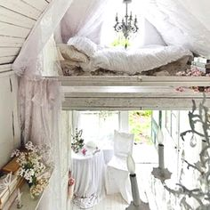 White rustic - Ooooohhh...great illustration of the dreamy look I want for my loft!  I've found some gauzy fabric for the lower hangings, but still need to buy more.