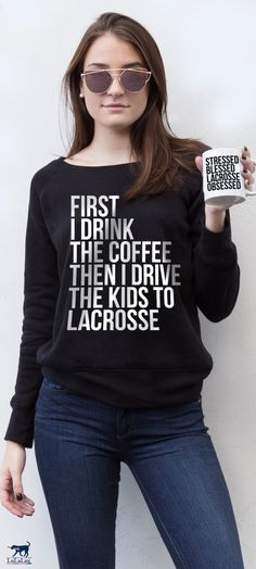 This one's for you, lacrosse moms! Enjoy a cup of coffee in our cozy wide-neck fleece sweatshirt before driving the kids to the big game or practice! It's the #lacrosselife!