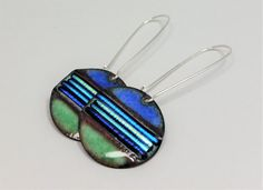 Dichroic Earrings, Round Enamel Earrings, Dichroic Blue Earrings, Dichroic Jewelry, Teal Jewelry, Earrings, Artisan Made, Sterling Silver by LafJewelryDesigns on Etsy