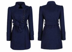 Wool Stand Collar Button Decorated Trench Coat for Women with Belt Royal Blue - BuyTrends.com