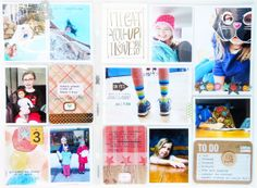 Idea: the photos framed in white gives this bright and busy page a calm and cohesive feel