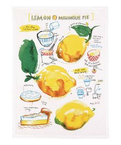 Lemon Meringue Pie Recipe Kitchen Towel - Set of Two #zulily #zulilyfinds. Give this with a handmade pie and a super unusual gift.