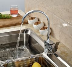 Fashion Kitchen Single Handle Sink Faucet Chrome Deck Mounted Hot&Cold Water Mixer Tap