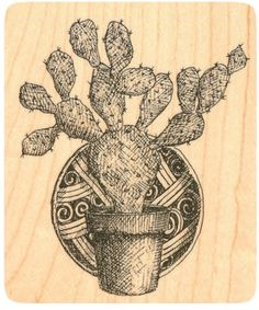 """{Single Count} Unique & Custom (2 3/4"""" by 3 1/4"""" Inches) """"Desert Cactus & Western Decorative Plate"""" Rectangle Shaped Genuine Wood Mounted Rubber Inking Stamp"""