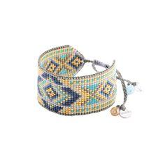 Bracelet large bleu/doré motif géométrique - Rays BE 2908