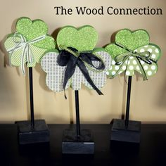Shamrock Trio on Base and Dowel The Wood Connection