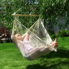 Hang the Sunnydaze Decor Extra Large Mayan Hammock Chair on your porch, favorite tree, or in your yard for a cozy place to lounge. This hammock. Mayan Hammock, Rope Hammock, Indoor Hammock, Hammock Swing Chair, Swing Seat, Swinging Chair, Swing Chairs, High Chairs, Chair Bed