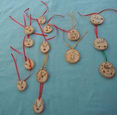 Wood burned ornaments