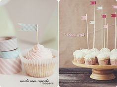 Wrap washi tape around a toothpick and cut triangles out to create a flag. Makes an adorable cupcake or sandwich decoration, or as cocktail stirrers. - 56 Adorable Ways To Decorate With Washi Tape Diy Masking Tape, Duct Tape, Cupcake Flags, Cupcake Toppers, Create A Flag, Washi Tape Storage, Duck Tape Crafts, Cupcakes, Packaging