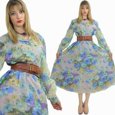 Vintage 70s Sheer Maxi Dress Floral Festival by SHABBYBABEVINTAGE, $65.00