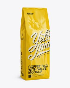 250g Glossy Coffee Bag With Valve Mockup - Half-Turned View. Preview