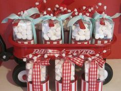 Use a sleigh to hold party favors for Winter theme party