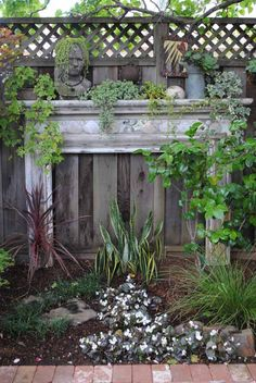 Love this repurposed fireplace mantle for the garden by landscape designer and author Rebecca Sweet. Look at the 'fire'! Outdoor Projects, Garden Projects, Fireplace Mantle, My Secret Garden, Garden Spaces, Dream Garden, Yard Art, Garden Inspiration, Beautiful Gardens