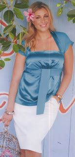 July 2013 Plus Size Beautiful neckline!  tunic #131