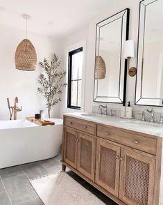 Bathroom Inspiration, Home Decor Inspiration, Bathroom Renos, Bathroom Ideas, Light Bathroom, Bathroom Hanging Lights, Bathroom Baskets, Bathroom Images, Budget Bathroom