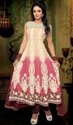 Pink Shade Georgette Long Length Anarkali Suit Price: Usa Dollar $165, British UK Pound £97, Euro121, Canada CA$ 179, Indian Rs8910.