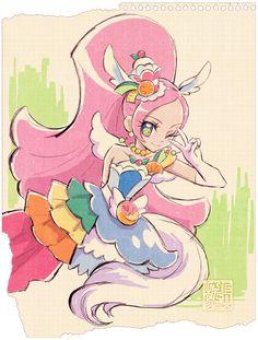Cure Parfait Fan Art by 上北ふたご ( Anime Chibi, Anime Art, Maho, Futari Wa Pretty Cure, Tokyo Mew Mew, Glitter Force, Manga Games, Story Inspiration, Design Inspiration
