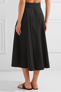 Lisa Marie Fernandez - Broderie Anglaise Cotton Midi Skirt - Black