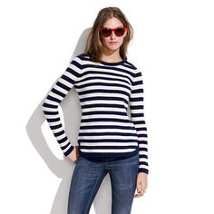 Bateau Button Sweater in Stripe - sweaters - Madewell Cute Fashion, Fashion Outfits, Only Clothing, Merino Wool Sweater, Navy And White, Navy Blue, Pretty Outfits, What To Wear, Trousers