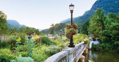 The 1925 bridge over the Rocky Broad River between Lake Lure and Chimney Rock has been turned into a garden.