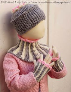 Sophie and Me: CROCHET NECK WARMER WITH MATCHING CUFFS