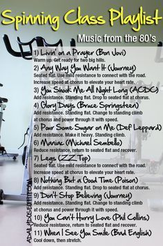 Need a playlist idea for your next group cycling class? Take your Spinning class back to the 80's with this selection of rock music. You'll ride over two big hills...great variety, good bike workout. / A Daily Dose of Fit