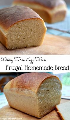 Yummy, Delicious, And Easy To Make Homemade Bread Recipe. This Frugal Bread Recipe Cost Just A Loaf. It's Also Dairy Free And Egg Free Too. Dairy Free Bread, Dairy Free Eggs, Egg Free Bread Recipe, Vegan Sandwich Bread Recipe, Vegan Bread Recipe No Yeast, Cassava Flour Bread Recipe, Water Bread Recipe, Vegan Bread Machine Recipe, Sugar Free Bread